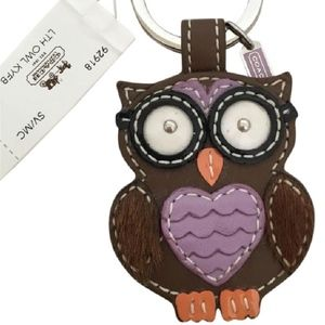 COACH Brown Leather Smart Owl Key Ring